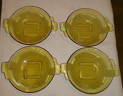 Set of 4 Art Deco Glass Bowls 1930s Czech in wonderful condition