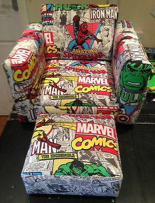 Marvel comic child's upholstered bespoke chair and foot stool