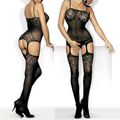 UK 6-14 Bodystocking Hen Party Lingerie Fishnet Catsuit Garter Tights C4 S M