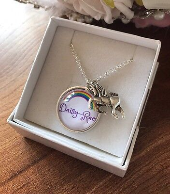 Girls Unicorn Necklace Any Name Personalised Charm Rainbow FREE GIFT BOX