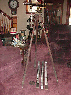 Antique Wye Transit & Tripod W & Le Gurley Troy New York Brass Surveying 1800S