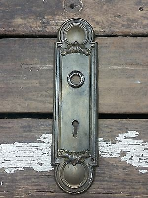 "VTG Antique Old Fancy Metal SHABBY Keyhole Door Knob Backplate 8 3/4"" Tall *"