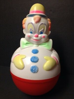 Sanitoy Clown Roly Poly Wobble Chime Celluloid Plastic Vintage 1977 Baby Toy