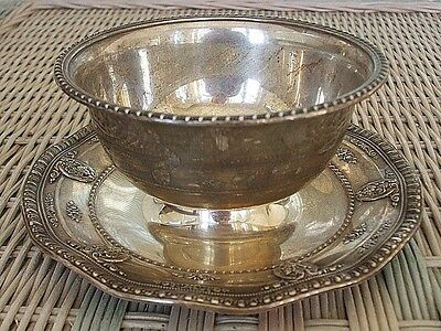 "Wallace Sterling Silver Rose Point Gravy Bowl w/Underplate - 7-1/4"" - 4956"