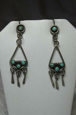 Native American Indian Turquoise Earrings Silver Art Deco Antique Superb Pendant