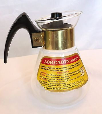 Corning Log cabin Syrup Warmer Pitcher Server 1 Pt Net Label & Top Free Shipping