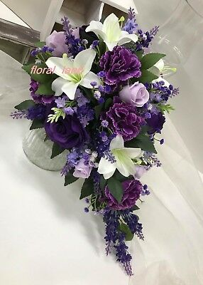 Silk Wedding Bouquet White Lily Purple Roses Lilac Gyp Flowers Teardrop Flower