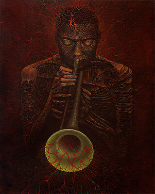 Wynton Marsalis Trumpet Music Fantasy Surrealism Original Oil Painting 24 x 30""