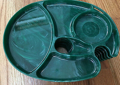 FUN! VINTAGE 1960s Snack-Master Trays with finger holes-set of 7 - Green