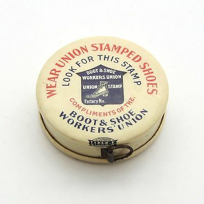 Vintage Celluloid Advertising Sewing Tape Measure Boot & Shoe Workers Union
