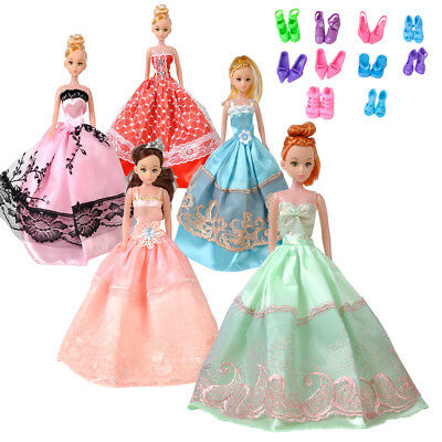 5pcs For Barbie Doll Wedding Dress Party Gown Clothes Outfits + 10 Pairs Shoes