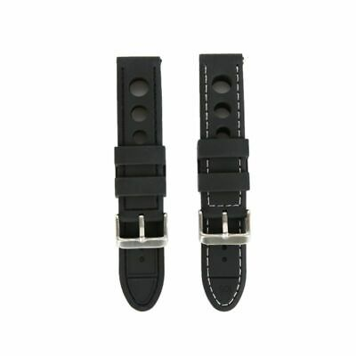 20-24mm Waterproof Perforated Leather Watch Band Strap Spring Bars Buckle Band