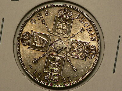 Great Britain 1921, Silver Florin, KM#817a, Strong Luster  #6537