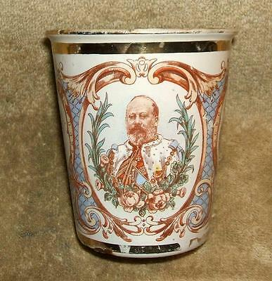 1902 Decorated Enamelware Cup Coronation King Edward VII Queen Alexandra