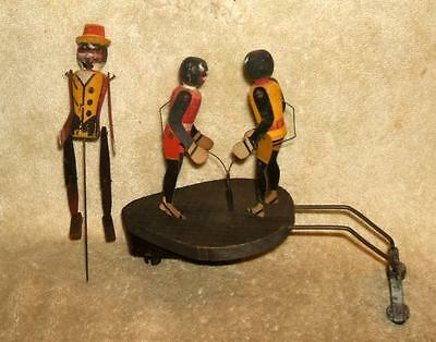 1915 National Toy Co Ragtime Rastus & Boxers Phonograph Toy Set Black Americana