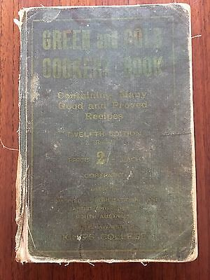 vintage GREEN and GOLD COOKERY BOOK 12th ED 1930s AUSTRALIAN cookbook recipes