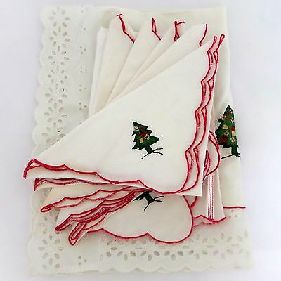 Vintage Appliqued Christmas Tree Table Runner 5 Napkins and Kitchen Hand Towel