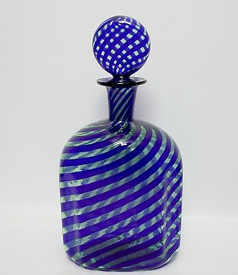 Beautiful Vintage Murano A Canne Ritorte Mold Blown Decanter Bottle W/ Stopper