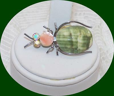 Vintage Silver tone Seashell Bug Brooch/Pin with AB Rhinestone Eyes.