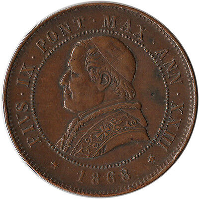 1868 Italy - Papal States (Vatican) 4 Soldi Large Coin KM#1374