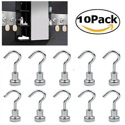 10Pcs/Pack Strong Magnetic 2/3/5.5KG Hooks Heavy Duty Neodymium Hanging Hook Set