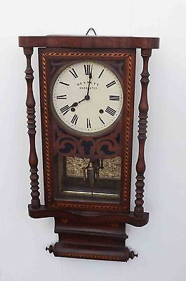 antique wall clock rosewood & inlaid case