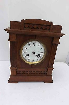 antique mantle clock oak cased London retailer Camerer & Cuss