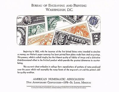 BEP B7 Souvenir Card ANA 1970 Currency Collage Mint
