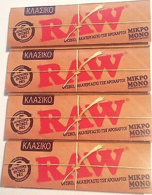 RAW Classic Single Wide  Normal Regular Natural Rolling Papers 4 x 50=200..