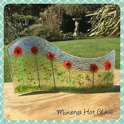 Fused Glass Art, Poppies, Poppy, Curved Light Catcher, Gift  Minerva Hot Glass