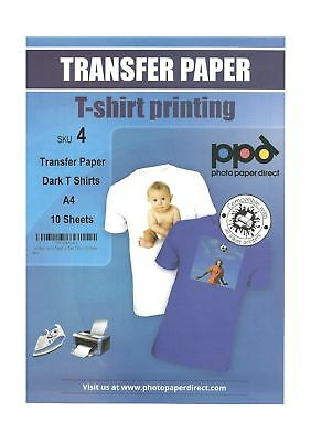 PPD Inkjet Iron-On Dark T Shirt Transfers Paper LTR 8.5x11 pack of 10 Sheets ...