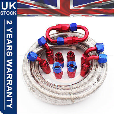 "AN6 -6AN AN-6 5/16"" 8MM Stainless Steel Braided Oil Fuel Hose Line Pipe 5 Metre"