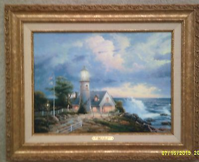 Thomas Kinkade-A Light in the Storm-12X16 Canvas Classic in Antique Gold Frame