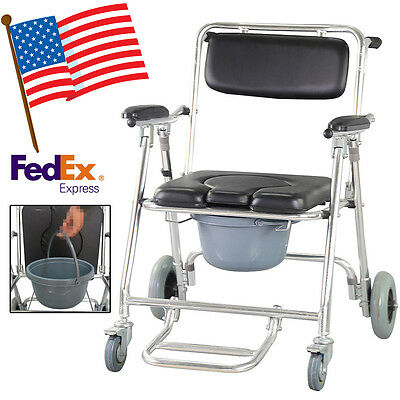 Mobile Commode Chair with 4 brakes Wheels & Footrests Wheelchair Toilet USA Ship