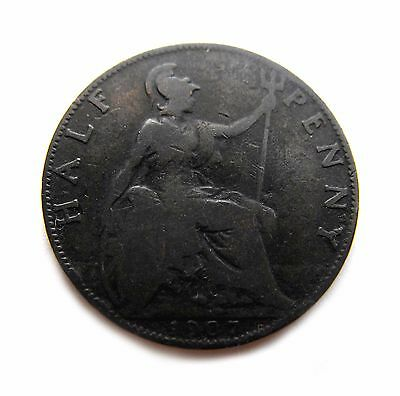 King Edward VII 1907 HALFPENNY in well-circulated condition