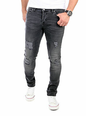 82c58197226026 Reslad Jeans-Herren Destroyed Style Slim Fit Denim Stretch Jeans-Hose  Rs-2062