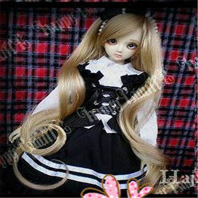 1 4 7-8 BJD MSD Wig DOC SD DZ DOD LUTS Dollfie Doll wigs 18-19 curly blonde E70