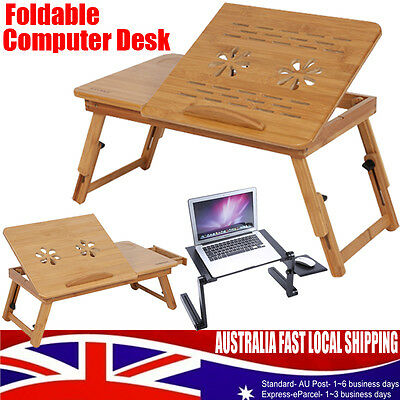 3 Style Laptop Bed Desk Table Foldable Cooling Hole Holder Writing Tray Stand AU