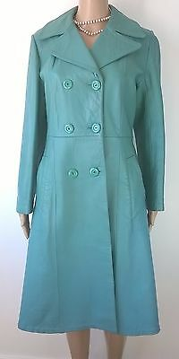 Vintage 1970s Green Leather Coat Long Trench Coat Jacket Size 12 Indie Goth Boho