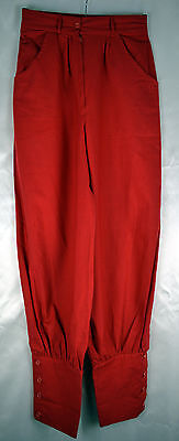 Vintage 1970's Very High Waist Red Cotton Button Cuffed Trousers Size 6/8