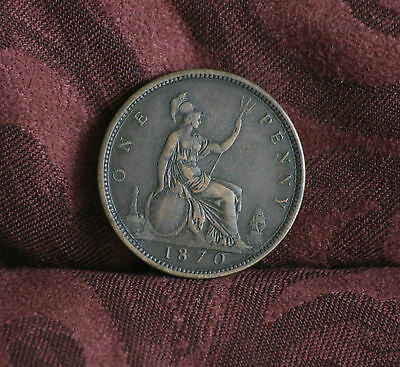 1870 Great Britain 1 Penny Bronze World Coin Britania Seated KM749.2 UK England
