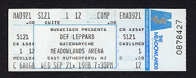 1988 Def Leppard Queensryche unused concert ticket Hysteria Tour Meadowlands NJ