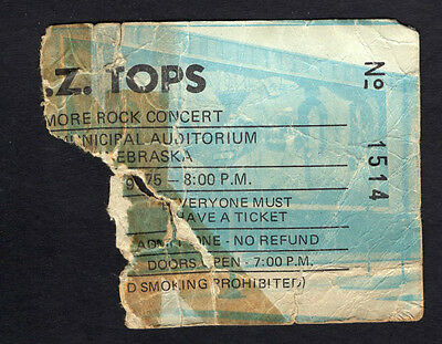 1975 ZZ Top Blue Oyster Cult Concert Ticket Stub Lincoln NE Fandango Tour