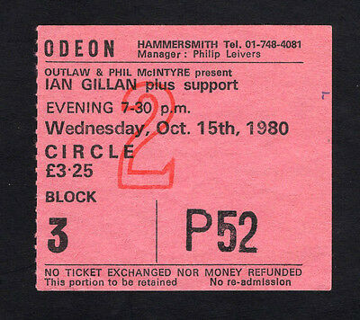 1980 Ian Gillan from Deep Purple Concert Ticket Stub Odeon London UK Glory Road