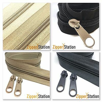 5 Meters of SIZES 3,5,8, or 10 Continuous Zip Zippers, with 10 Slides, 7 colours