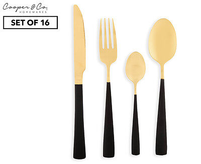 Cooper & Co. Bella 16-Piece Two Tone Cutlery Set - Black/Gold