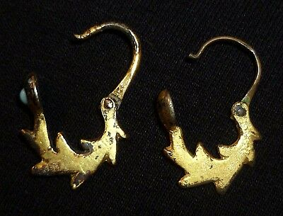 ROMAN / BYZANTINE Ancient Set SILVER - GOLD Plated EARRINGS Circa 500-700 AD