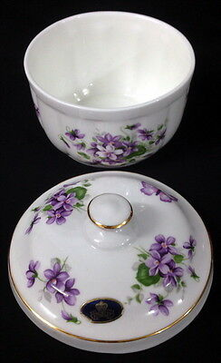 Aynsley Wild Violets Lidded Pot Bowl With Lid Original Sticker Intact