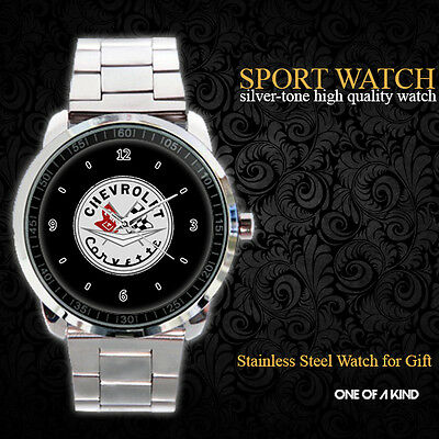 Chevrolet Corvette Logo Wheel Sport Metal Watch