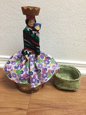 Tarahumara Mexican Indian Doll And One Handwoven Basket New
